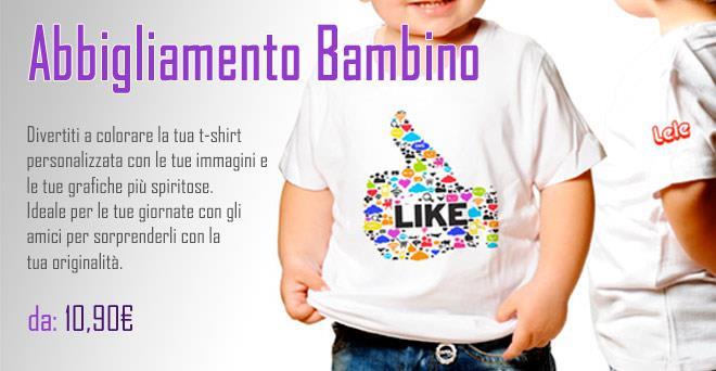 Abbigliamento Bambino personalizzato con foto o grafiche - stampa e crea  online il tuo abbigliamento  9fa29bbf5a45